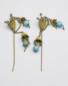 A pair of Chinese hairpins collected in 1895 by Capt. Benjamin Bradford.