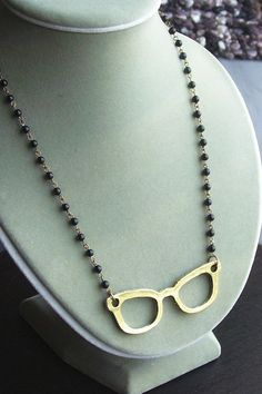 Spectacles necklace. Eye glasses with onyx by DelicateIndustry1