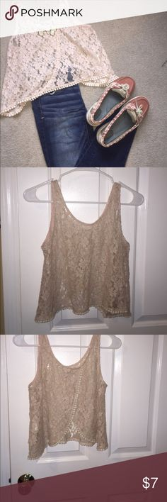 Lush Lace Pink Crop Top Cotton Lace Crop Top. Pairs perfectly with jeans or shorts. Open back. Only signs of wear is a small stain on the front (pictured) that is only noticeable upon close inspection. Bundle with AE jeans and save! Lush Tops Crop Tops