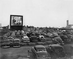 1950s Drive in Movie Theater at Dusk