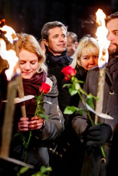 Crown Prince Frederik with Prime Minister participate in a memorial ceremony for the victims of the weekend's shootings in Copenhagen today.16/02/2015