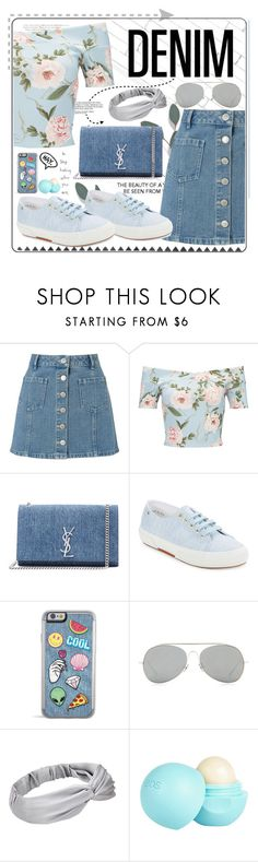 """DENIM ○ DENIM"" by fabulousbyangelika ❤ liked on Polyvore featuring Miss Selfridge, Vanity Fair, Yves Saint Laurent, Superga, Acne Studios, River Island and denim"