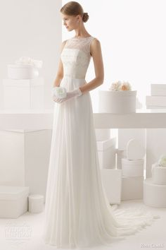 rosa clara 2014 celta sleeveless beaded bodice wedding dress full.  Front.  Maybe in champaign  or blush