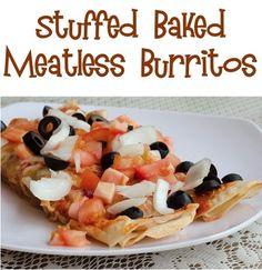Stuffed Baked Meatless Burritos Recipe! #burrito #recipes