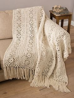 Irish Lace Blanket pattern by Patons Repeating rows of lace crocheted in a beautiful heirloom blanket. Crochet Afghans, Irish Crochet Patterns, Crochet Blanket Patterns, Crochet Shawl, Crochet Lace, Free Crochet, Crochet Blankets, Afghan Patterns, Baby Blankets