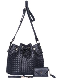 Black Drawstring Woven Shoulder Bag 26.44