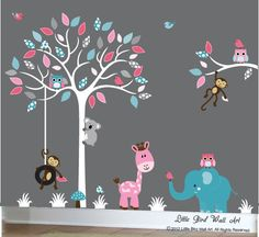 Turquoise and pink baby aqua jungle wall decal tree white childrens tree art - 099 on Etsy, $134.00