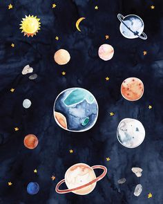 Alice Pasinetti on I Planets Wallpaper, Wallpaper Space, Wallpaper Iphone Cute, Galaxy Wallpaper, Cute Wallpapers, Wallpaper Backgrounds, Space Illustration, Night Aesthetic, Aesthetic Wallpapers