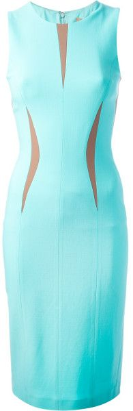 Michael Kors Fitted Sleeveless Dress in Blue - Lyst