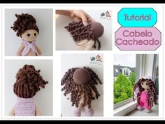 Tutorial cabelo cacheado para boneca de crochê - YouTube Crochet Hedgehog, Crochet Eyes, Crochet Coat, Crochet Baby, Yarn Dolls, Knitted Dolls, Fabric Dolls, Crochet Dolls, Amigurumi Tutorial