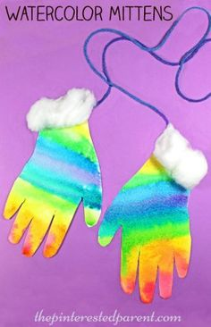 Silhouettes and Hand Prints watercolor hand print mittens – process art for kids – winter arts and crafts – preschooler Winter Art Projects, Winter Crafts For Kids, Diy Crafts For Kids, Projects For Kids, Arts And Crafts, Preschool Winter, Winter Fun, Craft Ideas, Process Art Preschool
