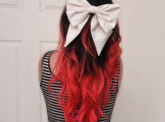 Brown hair dip dyed red. <3