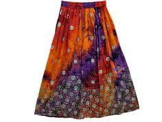 Bohemian Ethnic Womens Gypsy Skirt Orange Purple Tie Dye Rayon Sequin Long Skirt