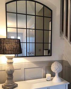 Bridgewater Portrait - Black Industrial Arched Window Mirror x x Metal Window Frames, Arched Window Mirror, Hall Mirrors, Entryway Mirror, Faux Window, Arch Mirror, Mirror Panels, Living Room Mirrors, Arched Windows