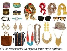 Use accessories to expand your style options when traveling with the essentials