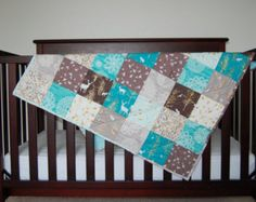 Woodland Baby Quilt | Michael Miller | Baby Boy | Teal, Brown, Tan, Gold Highlights, Deer, Forest, Light Coral Minky Backing
