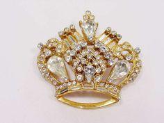 Vintage Richard Serbin Large Crown Pin w Rhinestones Galore High Detail Relief #RichardSerbin