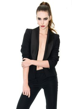 Veste smoking femme, veste satin noir, veste courte, stefanie renoma - Stefanie Renoma