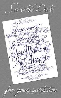 Calligraphy  Save the Date by foryourinvitation on Etsy
