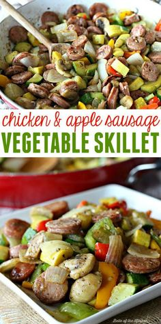 Chicken and Apple Sausage Vegetable Skillet is an easy, one-pot meal! It's … This Chicken and Apple Sausage Vegetable Skillet is an easy, one-pot meal! It's healthy and delicious, and makes a great or dinner solution! Chicken Sausage Recipes, Chicken Apple Sausage, Skillet Chicken, Recipe Chicken, Trader Joes Chicken Sausage, Chicken Chili, Paleo Dinner, Dinner Recipes, Dinner Healthy