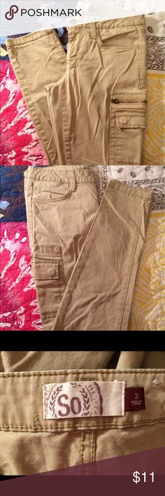 So brand khaki pants with cargo zip pockets So brand khaki pants with zippered cargo pockets. Size 3. Pls excuse the wrinkles these have been in a tote. No rips, tears or stains. May bundle with two or more additional items from this closet for 15% off. No holds or trades pls So Pants