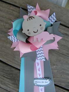 baby girl baby shower corsagebaby shower pin by bonbow on Etsy