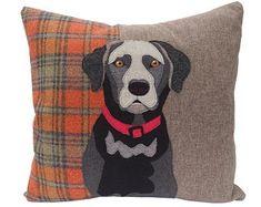Applique Cushions, Dog Cushions, Applique Fabric, Embroidered Cushions, Pillows, Black Labrador, Labrador Puppies, Retriever Puppies, Corgi Puppies