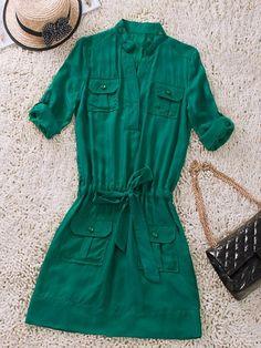 Green Silk Shirt Dress