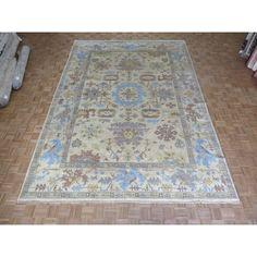 Hand-knotted Oushak Ivory Wool Oriental Rug (9'11 x 14'1) (9'11 x 14'1, Ivory), Size 10' x 14'