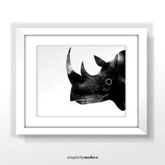 Rhino Watercolor Home Decor - Instant Digital Download & Print - Minimalist Wall Design - Rhino Artwork - Safari Nursery Decor - Printable