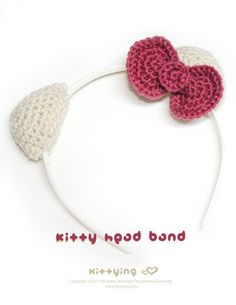 Hello Kitty Head Band Crochet PATTERN SYMBOL DIAGRAM by  kittying.com