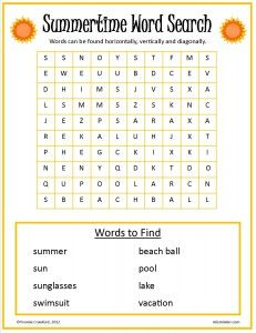 Summertime Word Search | Mixminder