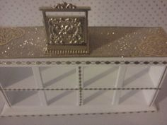 Dolls house shop counter with till in white and gold dollhouse miniature shop display