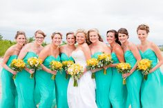 love the turquoise dresses.