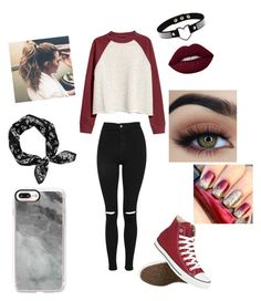 """""""dyoni and nery"""" by yoitsdd ❤ liked on Polyvore featuring H&M, Topshop, Converse and Casetify"""