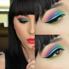 More fun eye makeup and love the lip color too. Blogger used Sugarpill eye shadows, Inglot matte gel liner in 77, Wet and Wild turquoise liquid eye liner, and  Urban Decay's Revolution Lipstick in 69.