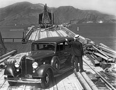 A man with a 1933 Packard on the trestle to the South Tower during the beginning of the construction of the Golden Gate Bridge, San Francisco, California, August 1933. (Photo by Underwood Archives/Getty Images)