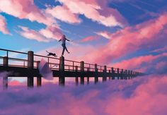A young woman and black cat dance along the railing of a bridge, with clouds gathering below. An umbrella falls away behind them.No Fear by Aurora Lion