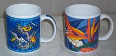 Lot of 2 Hilo Hattie Hawaii Coffee Cup Mug Bird of Paradise Flower Blue Whale