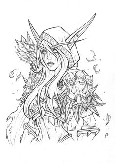 Sylvanas Windrunner Drawing, Rachael May on ArtStation at https://www.artstation.com/artwork/Ay9bq