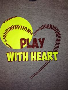 Custom Softball Heart shirt by on Etsy Softball Crafts, Softball Quotes, Softball Shirts, Girls Softball, Softball Players, Baseball Mom, Softball Stuff, Softball Party, Softball Equipment