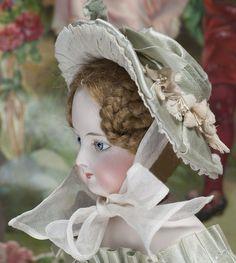 Antique  Aqua Silk Hat for French Fashion Doll Jumeau Bru Rohmer