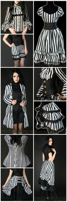 This place is absolutely my favourite online shop for Tim Burton-inspired clothing! Very affordable prices, they ship worldwide. Perfect for our 'Halloween with Tim' Party or year-round wear! Black & White striped clothing, very Burton-esque. Mode Steampunk, Victorian Steampunk, Steampunk Clothing, Steampunk Fashion, Neo Victorian, Dark Fashion, Gothic Fashion, Victorian Fashion, Mode Sombre