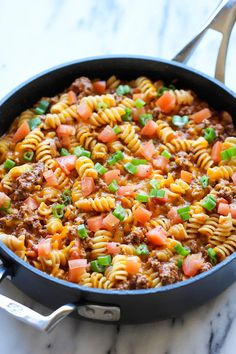 One-Pot Cheesy Hamburger Casserole Recipe | The whole family will love this one pot meal!