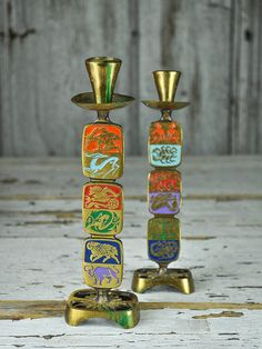 Zodiac Sign Metal Candle Holders Pair Astrology
