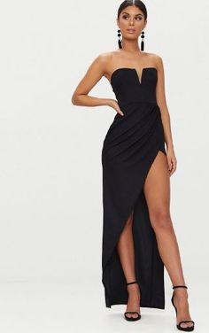 0777db200e17a Black Bandeau V Bar Wrap Detail Maxi Dress, Black | Eeseeagans Online on  WeShop