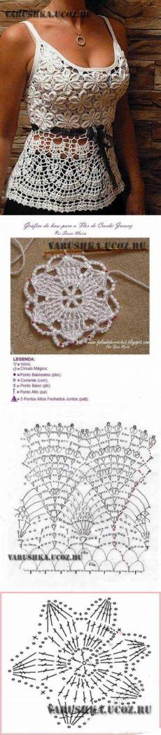Красивая схема вязания летнего топа - Схемы вязания - Крючок и спицы  Вязание…