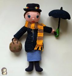 Mary Poppins Amigurumi Patrón Gratis I, Muñeca