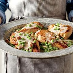 Chicken Breast with Pancetta Cream and Peas Recipe | MyRecipes.com  9 Weight Watcher + points per serving