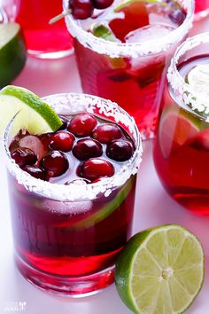 Cranberry margaritas: a holiday spin on one of our favorite drinks. This cranberry margarita is sure to be a crowd pleaser. What makes this delicious drink even better is that the recipe is no-fuss — you just mix all ingredients in one pitcher and serve. Thanksgiving Cocktails, Holiday Cocktails, Thanksgiving Recipes, Holiday Recipes, Christmas Drinks, Margarita Recipes, Cocktail Recipes, Cocktail Ideas, Drink Recipes